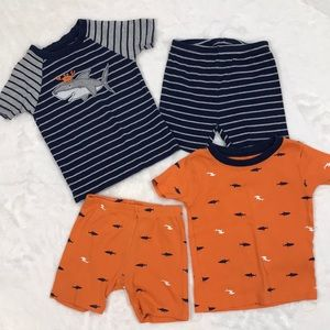 2 Pair of Carter's Shark Pajamas size 24 months